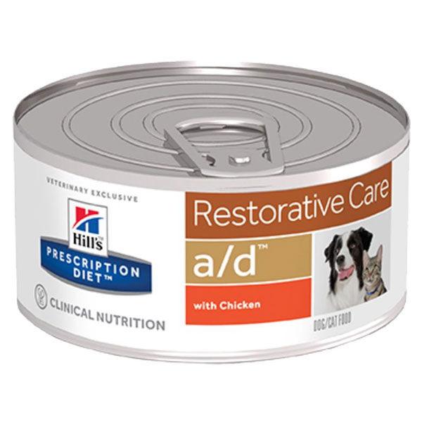 Hill's Prescription Diet Canine Feline A/D Restorative Care Pâtée Poulet Lot de 24 x 156g