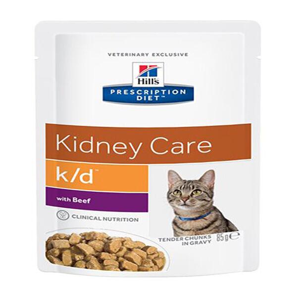 Hill's Prescription Diet Feline K/D Kidney Care Aliment Humide Boeuf 12 x 85g