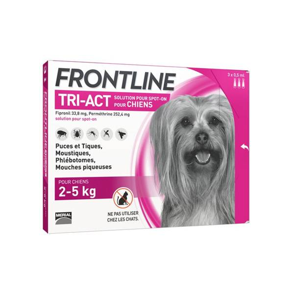 Frontline Tri-Act Chiens XS 2-5 kg 3 Pipettes