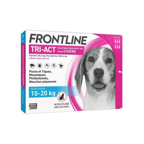 Frontline Tri-Act Chiens M 10-20 kg 6 Pipettes