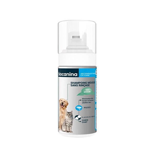 Biocanina Shampooing Antiparasitaire Mousse Sans Rinçage Chien et Chat 150ml