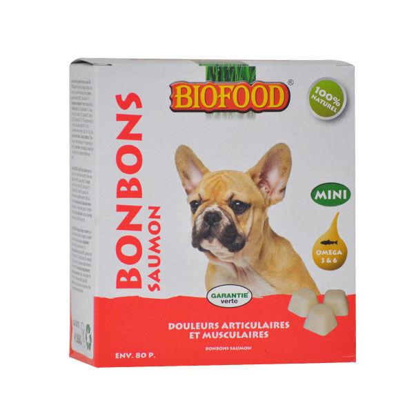 Biofood Chien Bonbons Saumon Douleurs Articulaires et Musculaires 80 pièces