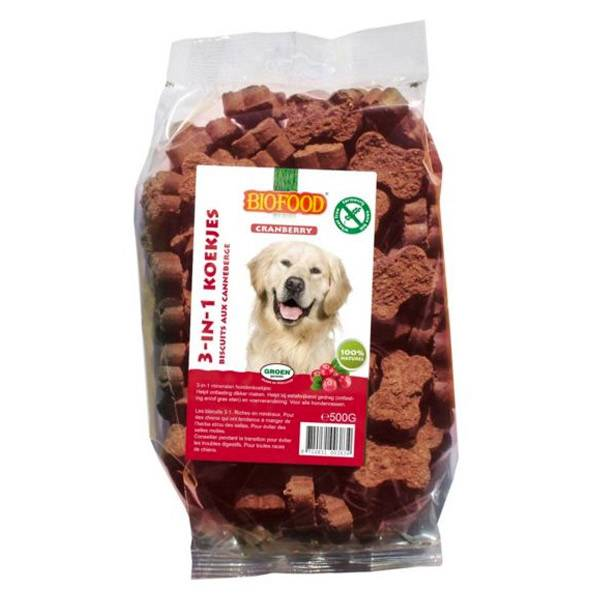 Biofood Chien Biscuits 3 en 1 Cranberry 500g