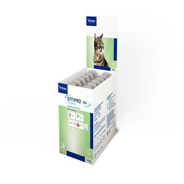 Virbac Effipro Duo Insecticide Chat spot on pipette boite de 24