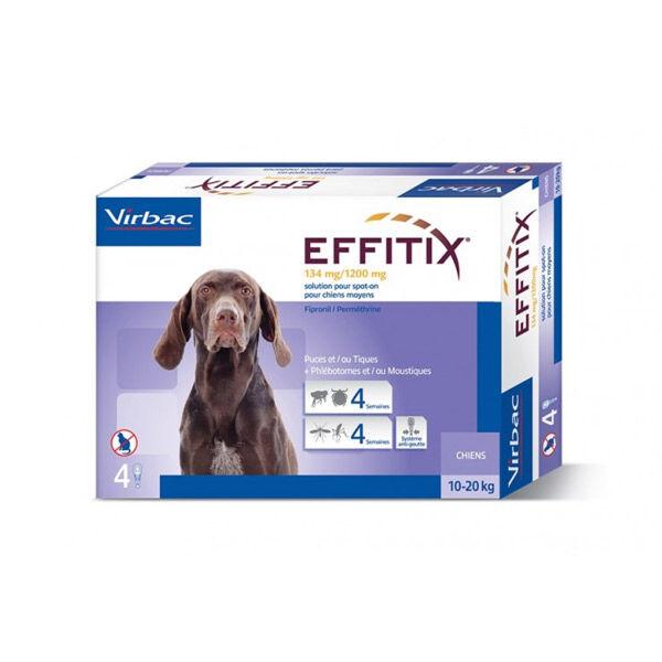 Virbac Effitix Chien Insecticide Chien de 10 à 20kg Spot-On Pipettes boite de 4