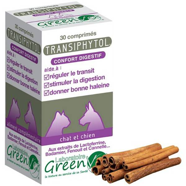 Greenvet Transiphytol Supplement Nutritionnel Regulateur du Transit Intestinal Chien Chat 300 unités