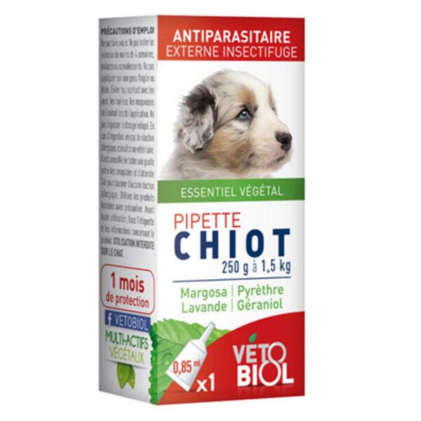 Vetobiol Pipettes Antiparasitaires Chiot Petit Chien 250g à 1,5kg 1 x 1,5ml