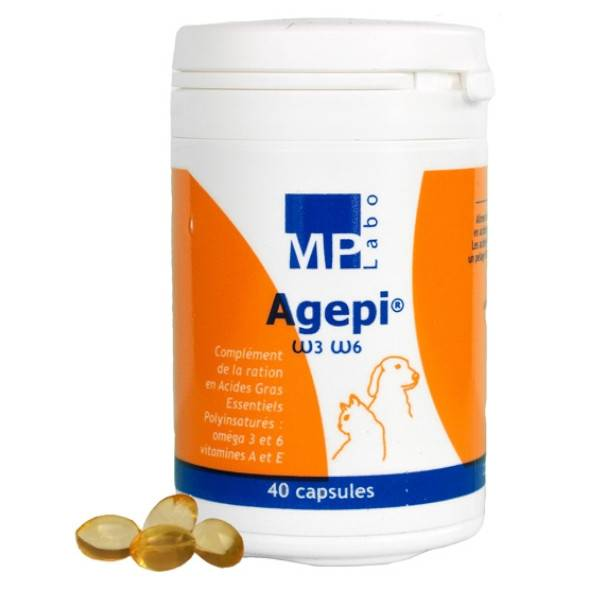 Agepi Omega 3 et 6 Supplement Nutritionnel Acide Gras + Vitamines A et E Chien Chat 40 capsules