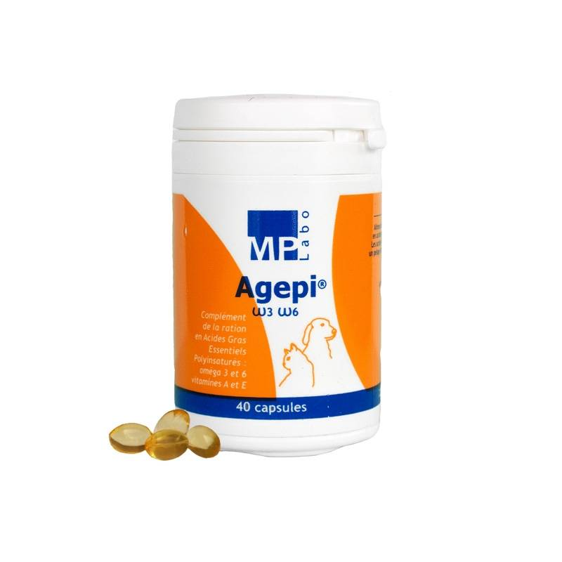 Agepi Omega 3 et 6 Supplement Nutritionnel Acide Gras + Vitamines A et E Chien Chat 40 capsules