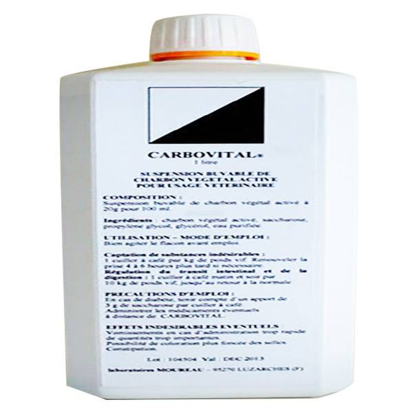 Moureau Carbovital Pansement Intestinal Charbon Vegetal Grands Animaux Solution Buvable 1L