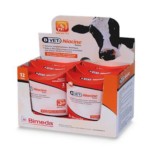 Bimeda Bvet Niacine Aliment Complémentaire Diététique Apport en Vitamine B3 Bovin Bolus boite 12