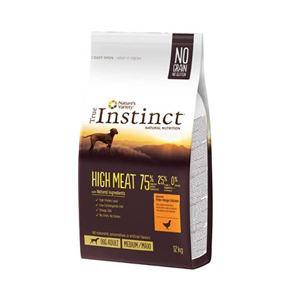 Affinity Petcare True Instinct Chien High Meat Adulte (+12mois) Medium/Maxi (+10kg) Poulet sac de 12kg de croquettes