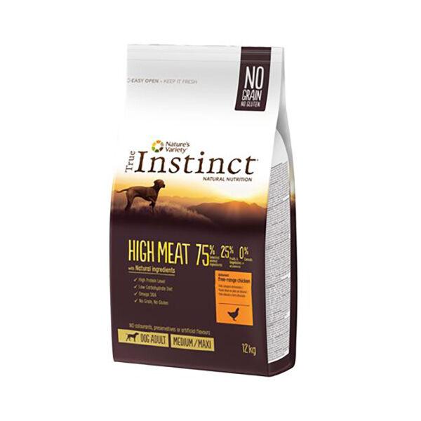 True Instinct Chien High Meat Adulte (+12mois) Medium/Maxi (+10kg) Poulet sac de 12kg de croquettes