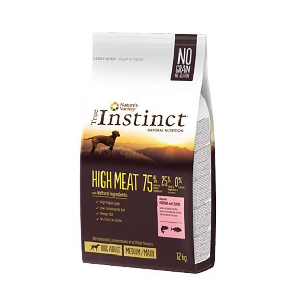 Affinity Petcare True Instinct Chien Adulte (+12mois) Medium/Maxi(+10kg) High Meat Saumon 12kg