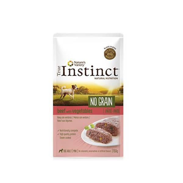 Affinity Petcare True Instinct Chien No Grain Adulte (+12mois) Mini (-10kg) Boeuf pate pochon de 150g