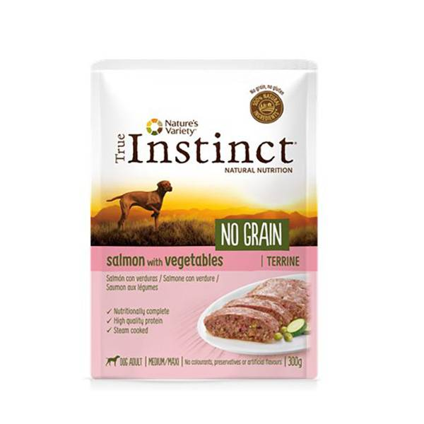 True Instinct Chien Adulte(+12mois) Medium/Maxi (+10kg) No Grain Saumon Terrine 300g