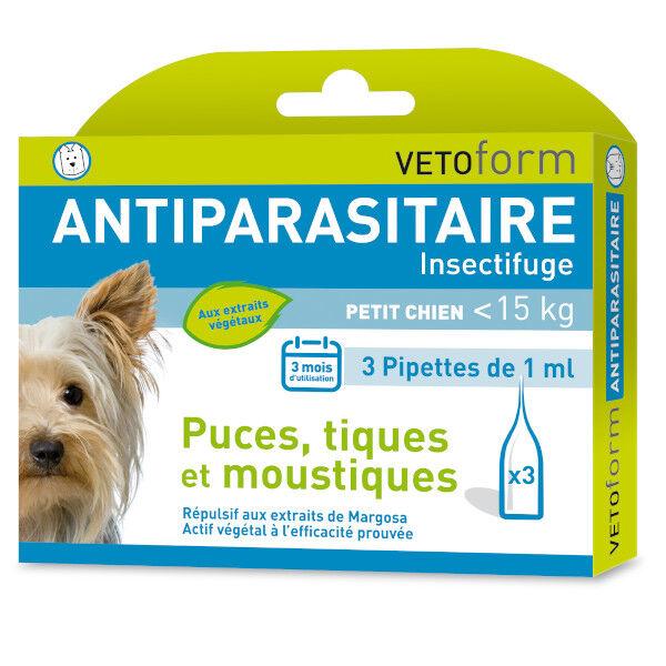Vetoform Antiparasitaire Petit Chien -15kg 3 pipettes