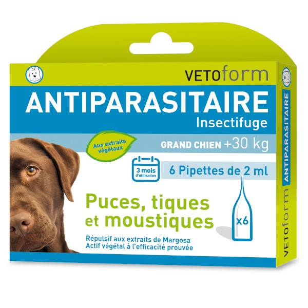 Vetoform Antiparasitaire Grand Chien +30kg 6 pipettes