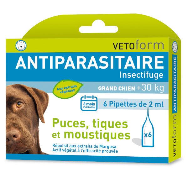 Vetoform Antiparasitaire Grand Chien +30kg 6 pipettes
