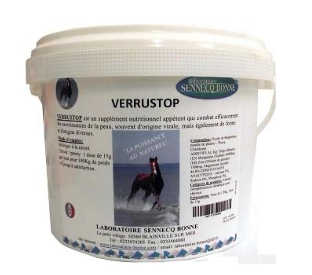 Sennecq Bonne Verrustop Supplément Nutritionnel Combat les Verrues Cheval poudre orale boite de 1,5kg