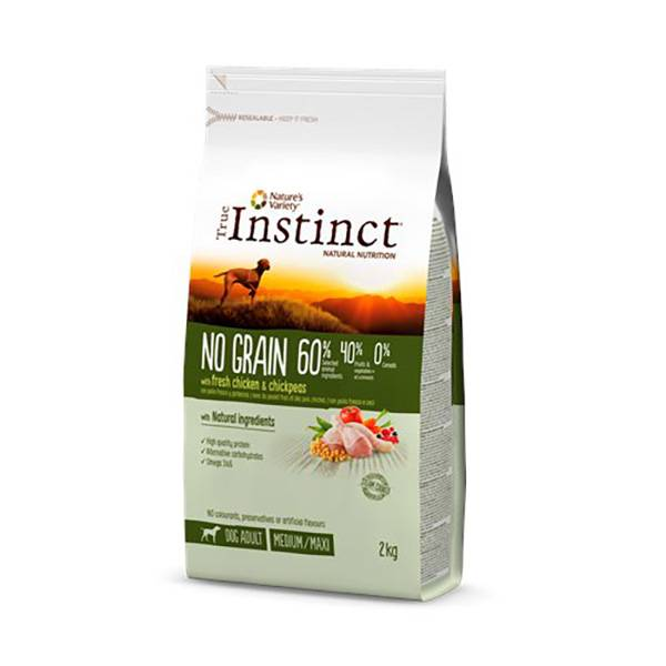 True Instinct Chien Adulte (+12mois) Medium/Maxi (+10kg) No Grain Poulet 2kg