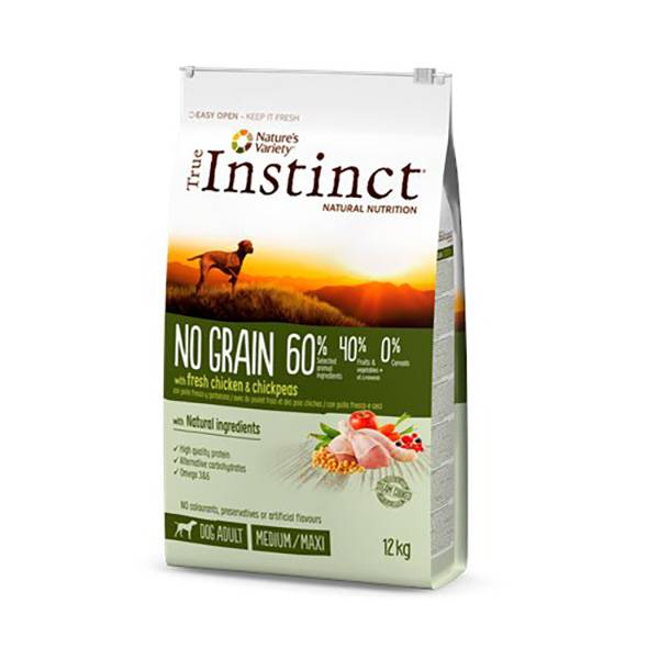Affinity Petcare True Instinct Chien Croquettes No Grain Adulte Medium Maxi Poulet 12kg