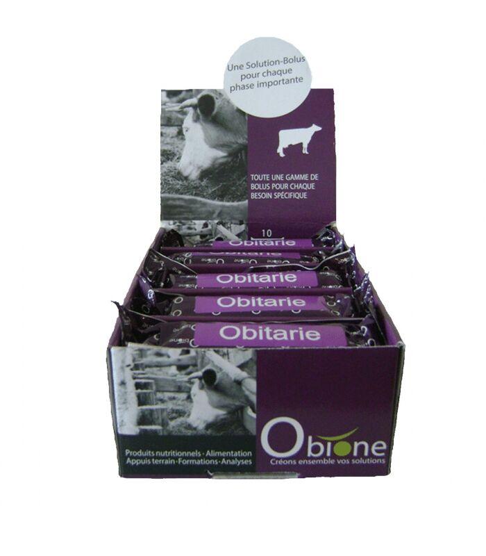 Obione obitarie bolus a base d'oligo-elements et vitamines vache tarie présentoir de 5 boites de 10
