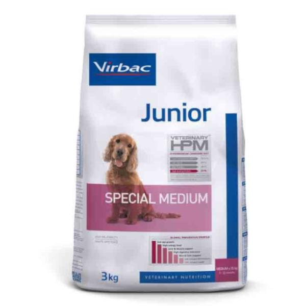 Virbac Veterinary hpm Chien Junior (7 à 12mois) Special Medium (11 à 25kg) Croquettes 3kg