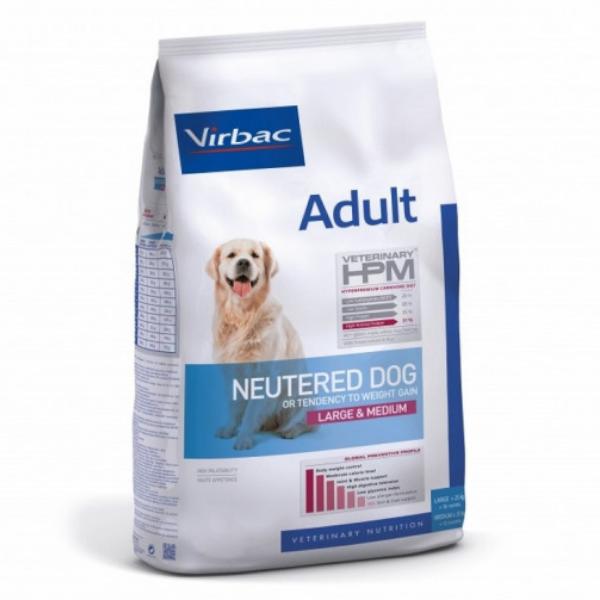 Virbac Veterinary hpm Neutered Chien Adulte Medium(+12 mois 11 à 25kg) Large (+18mois +25kg) Croquettes 7kg