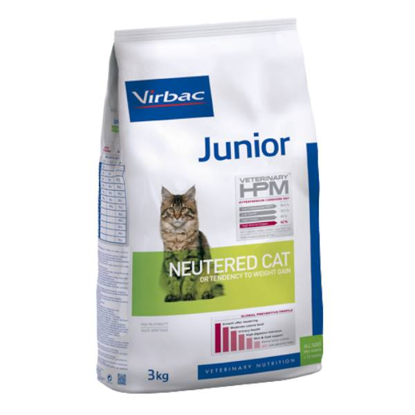 Virbac Veterinary hpm Neutered Chat Junior (de la Stérilisation à 12 mois) Croquettes 3kg