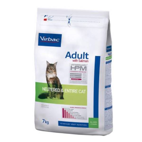 Virbac Veterinary hpm Chat Adulte Entier ou Stérilisé (+12mois) Saumon Croquettes 7kg