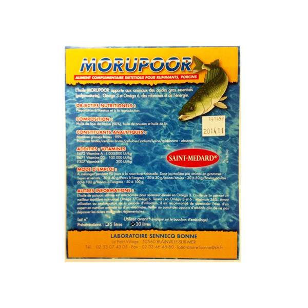 Morupoor Huile de Poissons et de Foie de Morue + Vitamines Usage Vétérinaire 30L