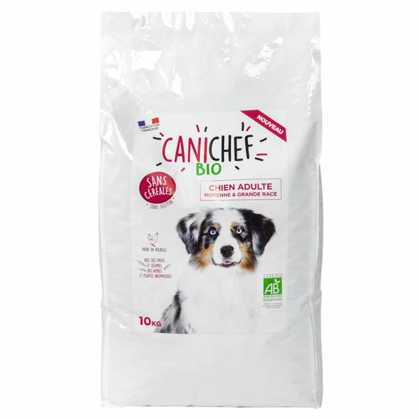 Canichef Croquettes Chien Adulte Moyenne & Grande Race Sans Céréales Bio 10kg