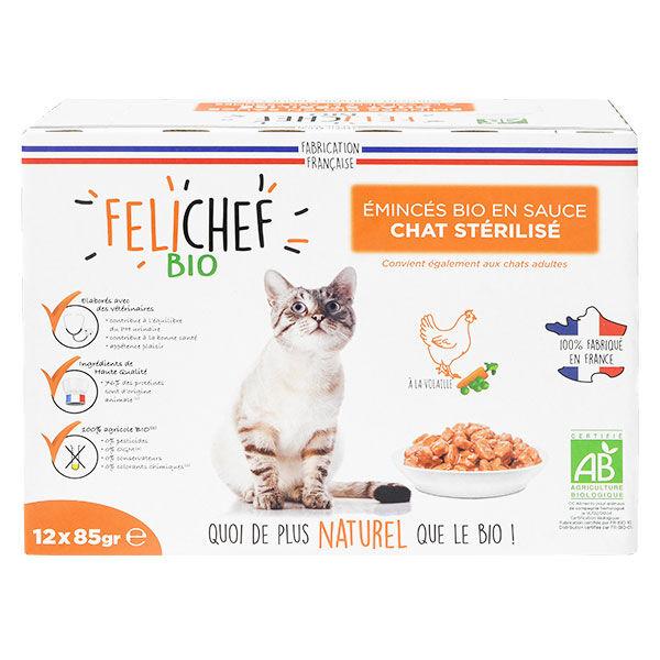 Felichef Emincés en Sauce Chat Stérilisé Volaille Bio 12 sachets