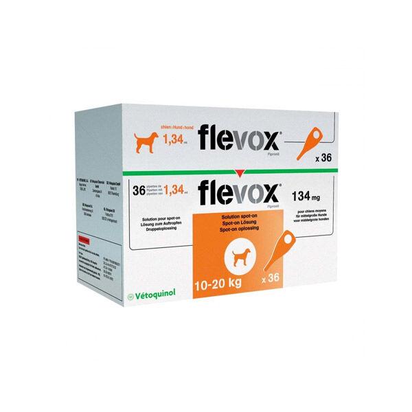 Flevox 134mg (fipronil) Insecticide Chien Moyen de 10 a 20kg Spot on 36 pipettes
