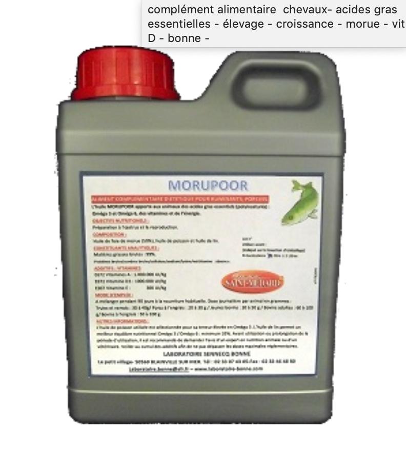 Morupoor Huile de Poissons et de Foie de Morue + Vitamines Usage Vétérinaire bidon de 2 litres