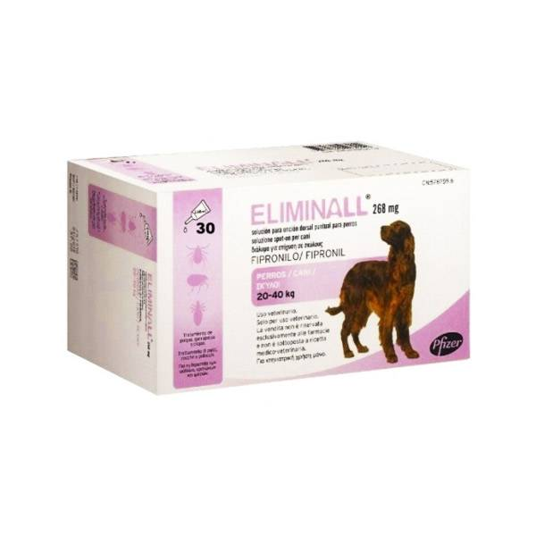 Eliminal Chien de 20 a 40kg 268mg (fipronil) Insecticide Spot on 30 pipettes