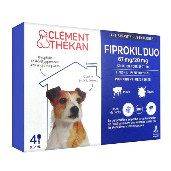 Clément Thékan Fiprokil Duo Chiens 2-10kg 4 pipettes