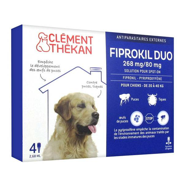 Clément Thékan Fiprokil Duo Chiens 20-40kg 4 pipettes