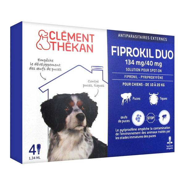 Clément Thékan Fiprokil Duo Chiens 10-20kg 4 pipettes