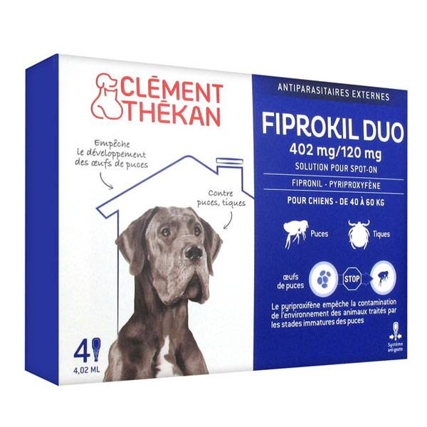 Clément Thékan Fiprokil Duo Chiens 40-60kg 4 pipettes