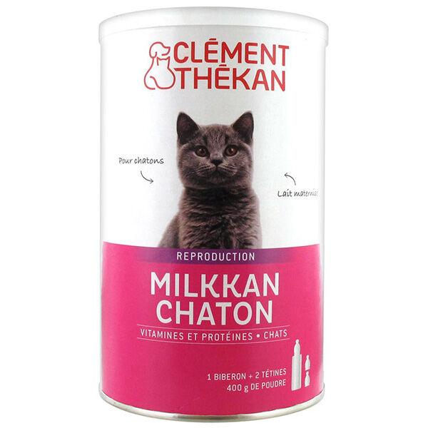 Clément Thékan Milkkan Chaton Lait Maternisé 400g + Biberon et Tétines