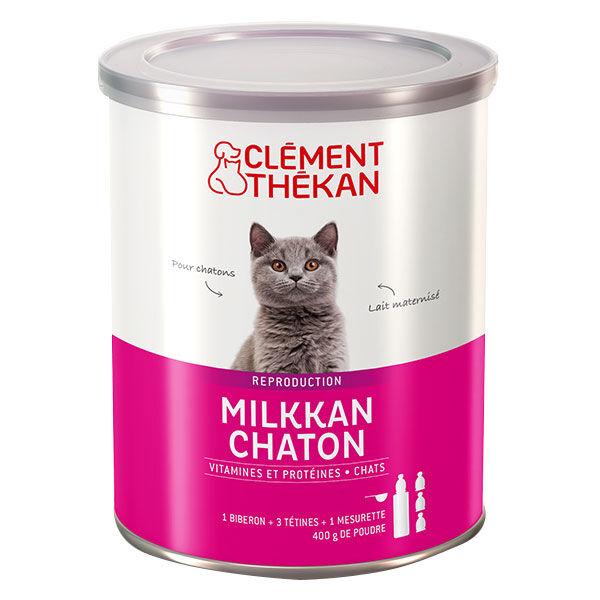 Clément Thékan Milkkan Lait Maternisé Chaton 400g + Biberon et Tétines