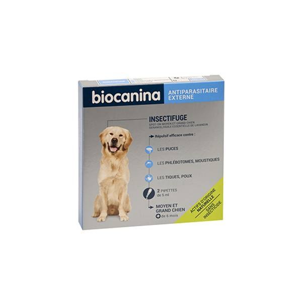 Biocanina Insectifuge Naturel Spot-On Moyen et Grand Chien 2 pipettes