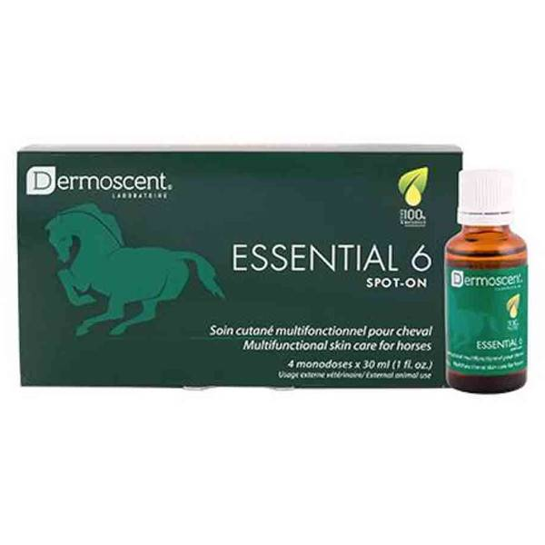 Dermoscent Essential 6 Soin (dermite) et Entretien Peau et Pelage Cheval Spot on 4 x 30ml