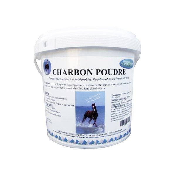 Sennecq Bonne Bonne Charbon Végétal Activé poudre orale Cheval Bovin Ovin Caprin pot de 1kg