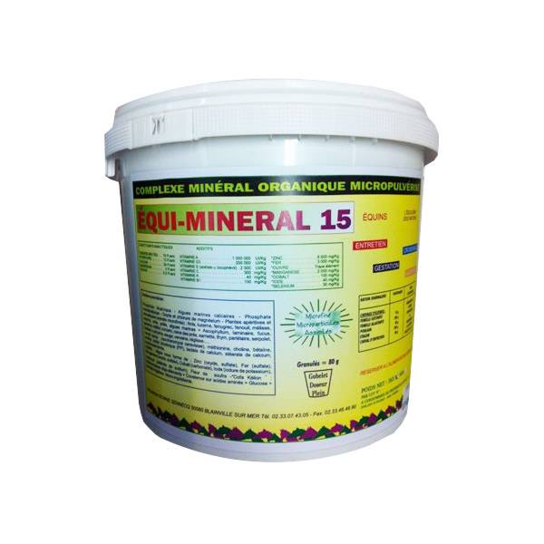 equi mineral 15 complement alimentaire polyvitamine cheval granules seau de 1kg5