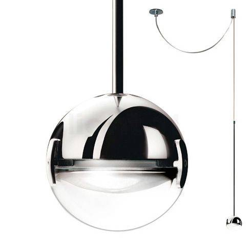 Cini&Nils Convivio Suspension LED, chrome avec lentille transparente