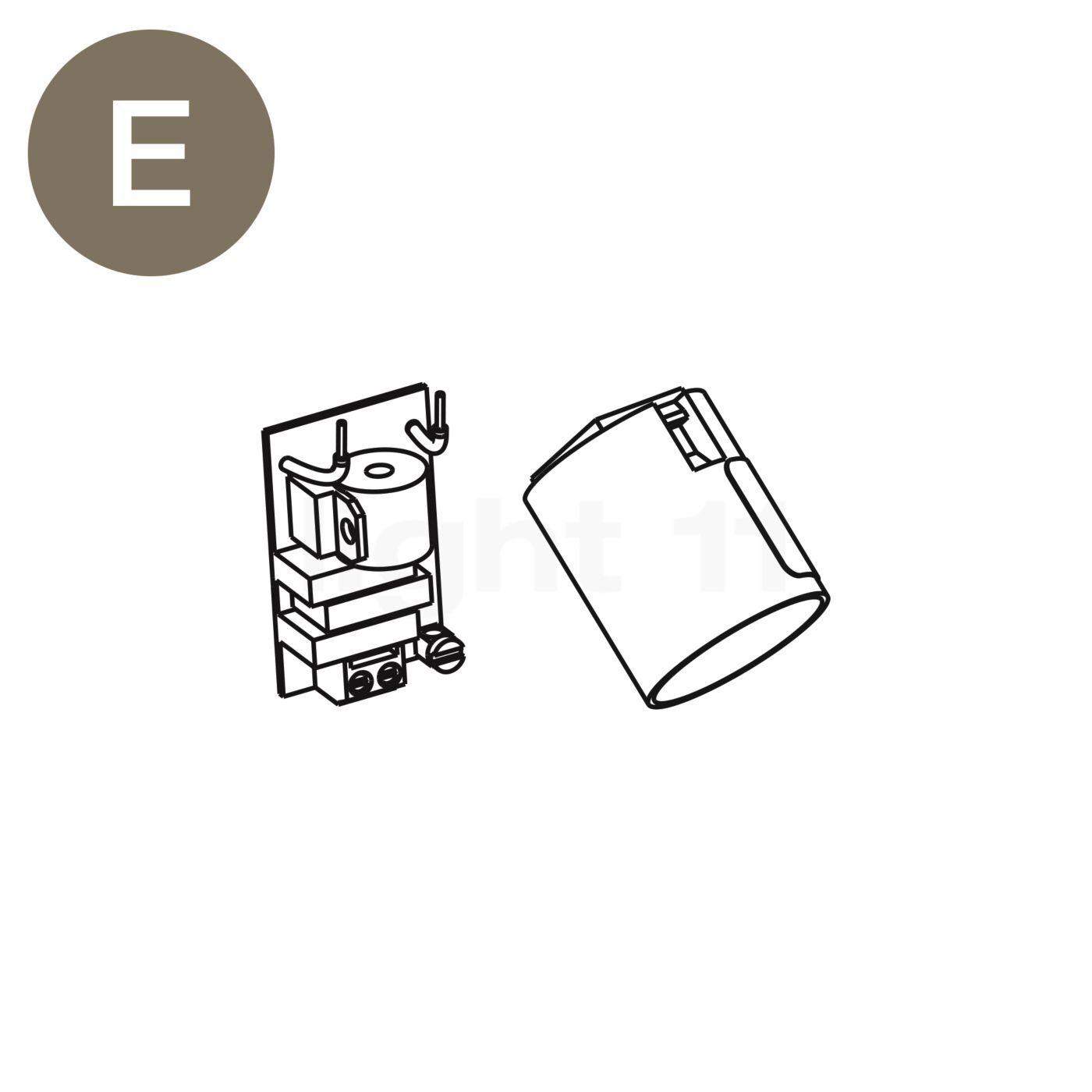 Luceplan Pièces détachées pour Costanza Terra télescopique avec variateur tactile, Pièce E : carte variateur avec douille E27