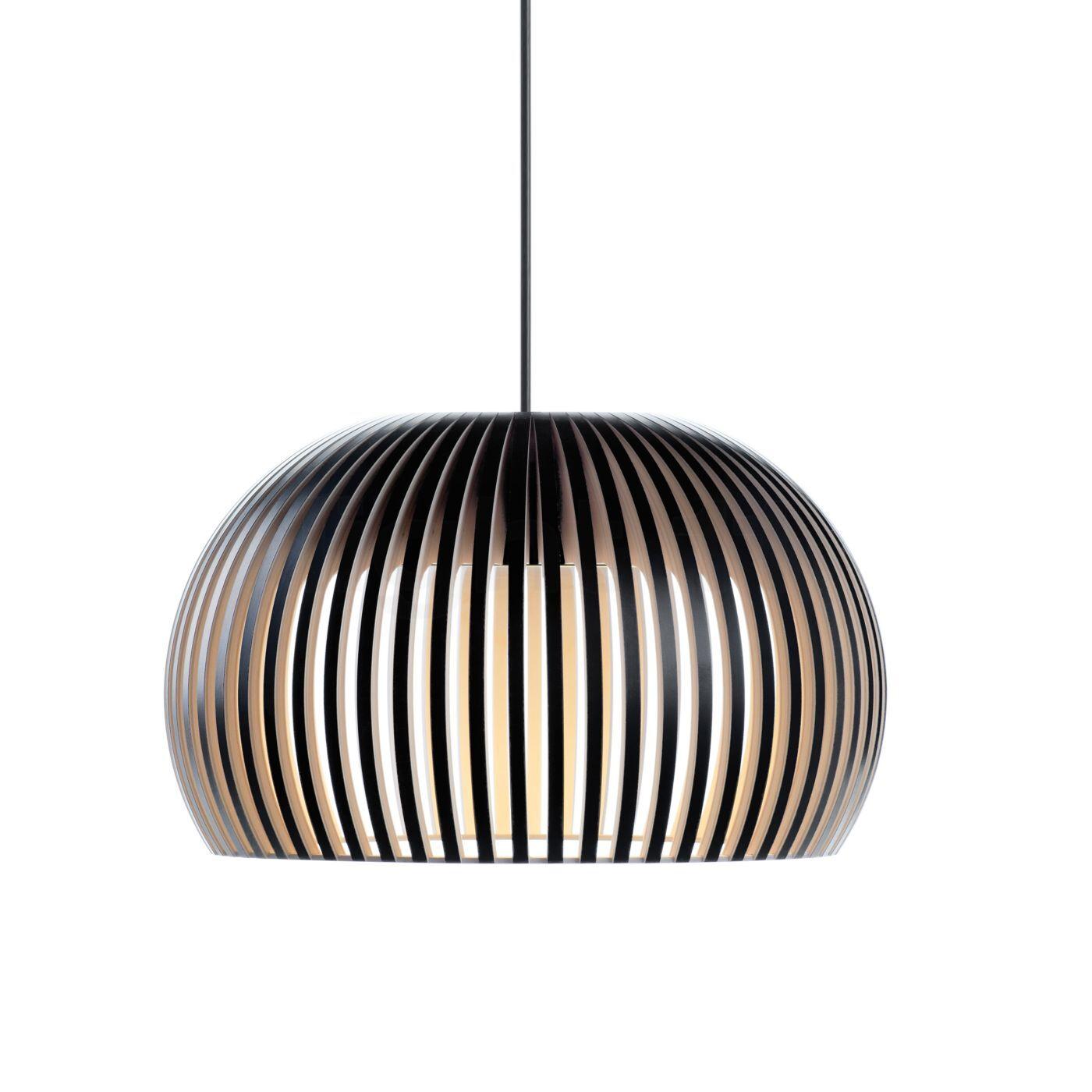 Secto Design Atto 5000 Suspension LED, noir, stratifié/câble textile noir